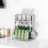 明爵 不锈钢厨房置物架 2层 30cm 送挂钩+脚垫+安装工具