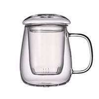 水之铭 带把双层玻璃茶杯 500ml