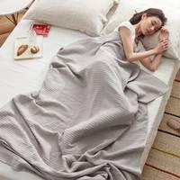 大朴(DAPU)毯子家纺 A类棉麻褶皱毛巾被 棉麻毛毯盖毯 薄被 麻灰 双人 140*200cm