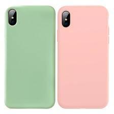 简约纯色iPhoneX手机壳Xr苹果Max抹茶绿硅胶软壳7/8plus情侣6sp女