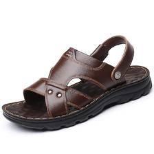 乌篷船男士防滑防水凉拖鞋耐磨加厚底爸爸凉鞋2019夏季真皮沙滩鞋