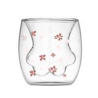 双层玻璃猫爪杯 印花款