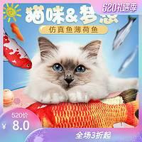 猫玩具猫薄荷鱼猫咪玩具逗猫棒鲫鱼抱枕仿真毛绒小猫咪用品鱼玩具