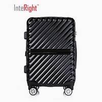 INTERIGHT 商务斜条纹拉链拉杆箱静音万向轮旅行箱行李箱   黑色 28英寸