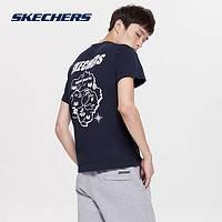 Skechers斯凯奇男装圆领短袖上衣 时尚图案印花T恤衫 SMAMF18D031